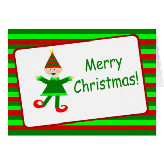 Green and Red Stripe Christmas Elf Merry Christmas Greeting Card