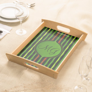 Green and Red Stripes Serving Trays