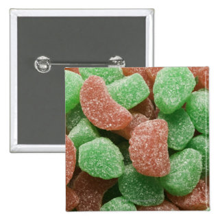Green and red sugared candies 15 cm square badge
