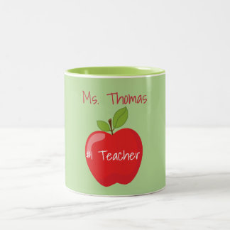 Green and Red Teacher Apple Two-Tone Coffee Mug