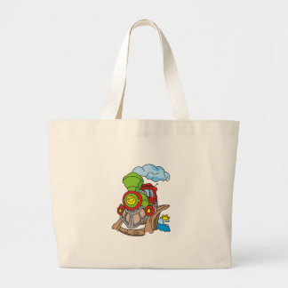 Green and Red Train Large Tote Bag