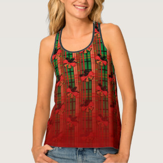 green and red xmas bells plaid pattern singlet