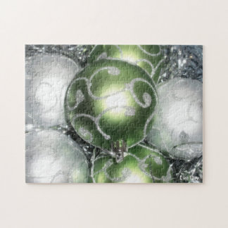 'Green and Silver Sparkle' Jigsaw Puzzle