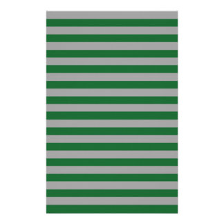 Green and Silver Stripes Stationery