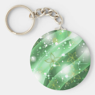 Green and Sparkle Basic Round Button Key Ring
