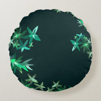 Green and Teal Artsy Floral Pattern Round Cushion