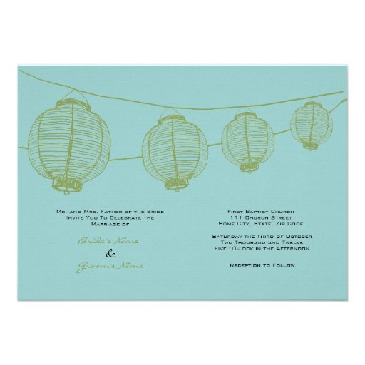 Green and Teal Lanterns Wedding Invitation
