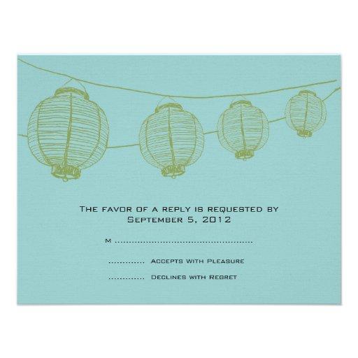 Green and Teal Lanterns Wedding RSVP Invites