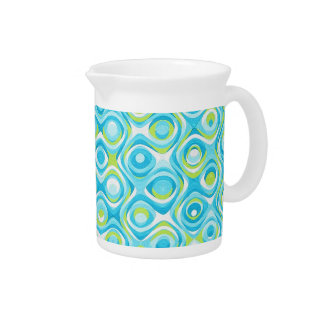 Green and teal retro painted swirls pitcher