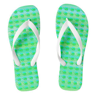 Green and Turquoise Stripes with Elephant Pattern Thongs