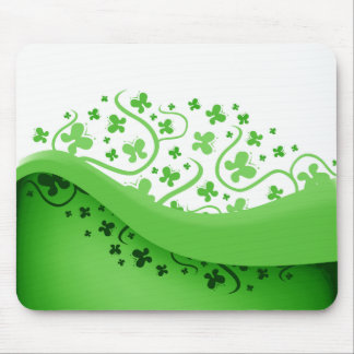 Green And White Abstract Butterflies Mouse Pad