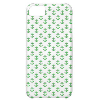 Green and White Anchors Pattern iPhone 5C Case