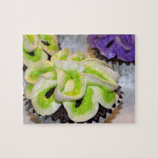 Green and White and Purple Frosted Cupcakes Jigsaw Puzzle