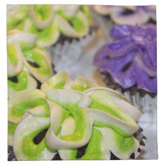 Green and White and Purple Frosted Cupcakes Napkin