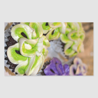 Green and White and Purple Frosted Cupcakes Rectangular Sticker