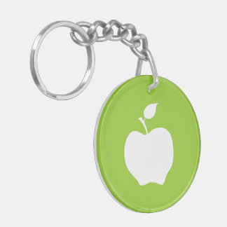 Green and White Apple Double-Sided Round Acrylic Key Ring