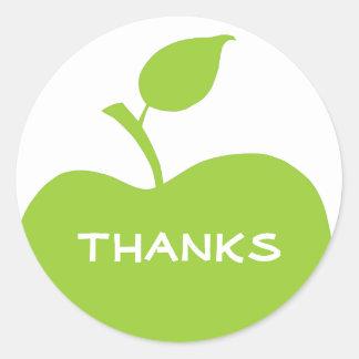 Green and White Apple Thanks Round Sticker