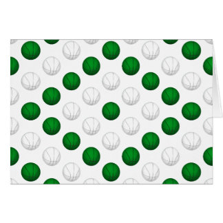 Green and White Basketball Pattern Card