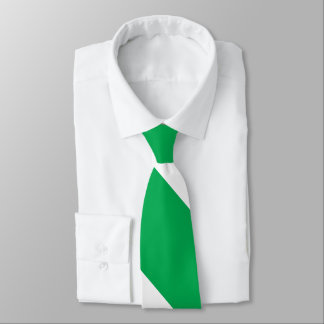 Green and White Broad University Stripe Tie