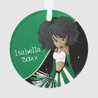 Green and White Cheerleader Girl Ornament