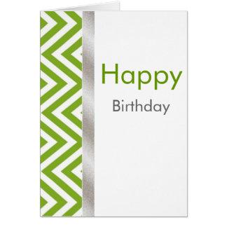 Green and White Chevron Birthday Card