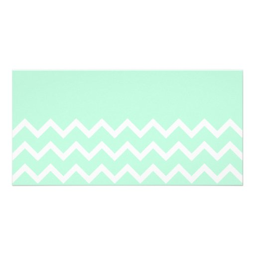 Green and White Chevron Pattern with Plain Green. Personalized Photo Card