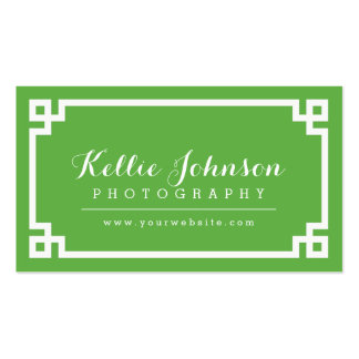 Green and White Chic Greek Key Border Pack Of Standard Business Cards