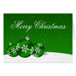 Green and White Christmas Snowflake Ornaments Greeting Card
