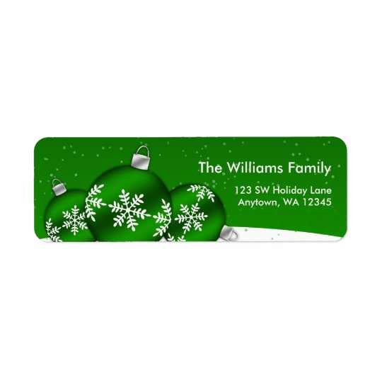 Green and White Christmas Snowflake Ornaments Return Address Label