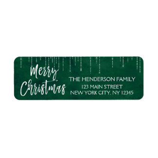 Green and White Christmas Sparkle Lights Return Address Label