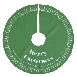 Green and White  Christmas - Your text, Your Names Brushed Polyester Tree Skirt