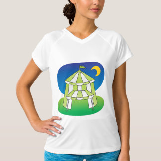 Green And White Circus Tent Womens Active Tee