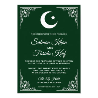 Green and White Crescent Muslim Wedding Invitation