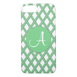 Green and white crisscross monogram cell phone cas iPhone 7 case