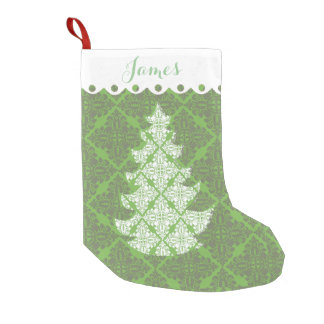 Green and White Damask Pattern  Holiday Tree Small Christmas Stocking