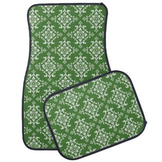 Green and White Damask Pattern Set of 4 Car Mats