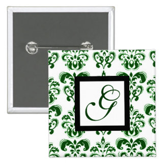 GREEN AND WHITE DAMASK SQUARE MONOGRAM 15 CM SQUARE BADGE