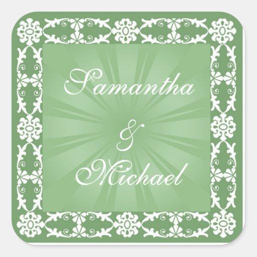 Green and white design square sticker