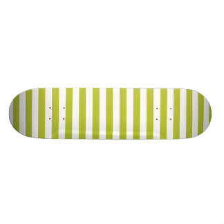Green and White Diagonal Stripes Pattern Custom Skate Board