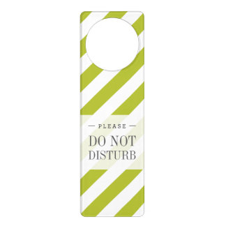 Green and White Diagonal Stripes Pattern Door Hanger