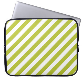 Green and White Diagonal Stripes Pattern Laptop Computer Sleeve