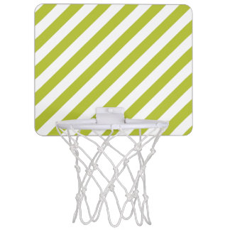 Green and White Diagonal Stripes Pattern Mini Basketball Hoop