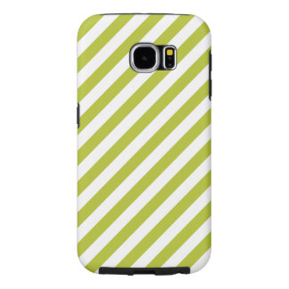 Green and White Diagonal Stripes Pattern Samsung Galaxy S6 Cases