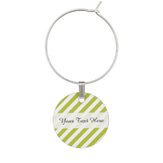 Green and White Diagonal Stripes Pattern Wine Charm