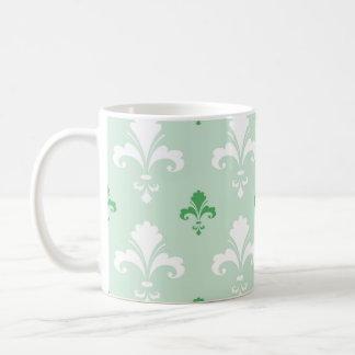 Green and White Fleur-de-lis Pattern Mug