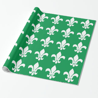 Green and White Fleur de Lys Wrapping Paper