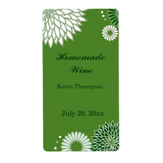 Green and White Floral Mini Wine Label