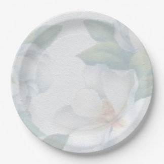 Green and White Floral Pattern 9 Inch Paper Plate