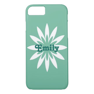 Green and white flower monogram cell phone case