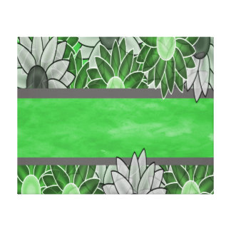 Green and White Flowers Canvas Prints